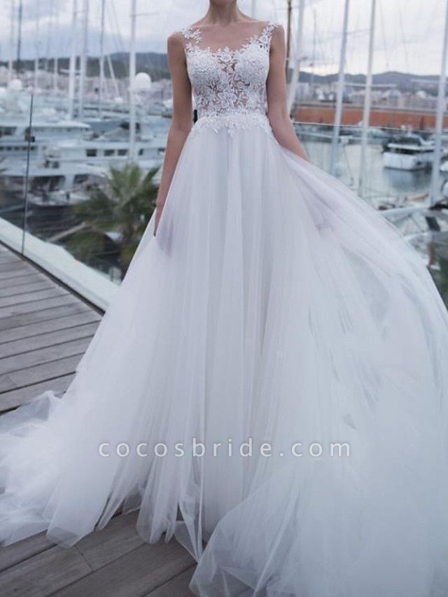 A-Line Wedding Dresses Scoop Neck Sweep \ Brush Train Polyester Sleeveless Country Plus Size