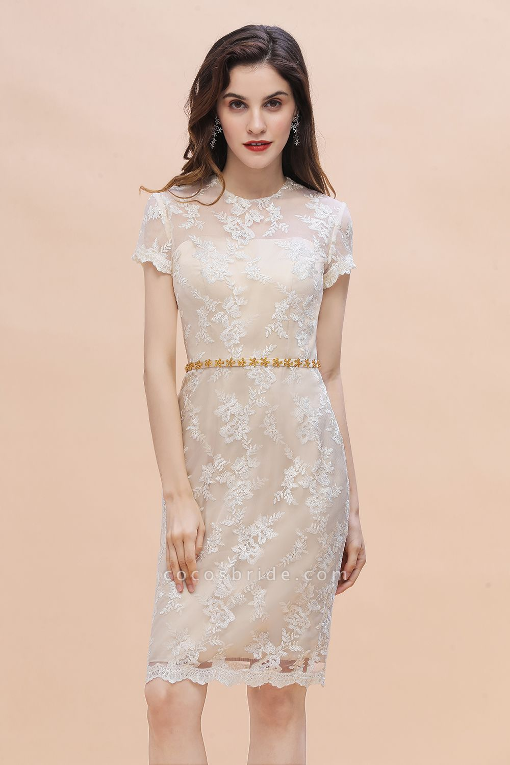 Tulle Lace Beads Belt Short Sleeves Mother of Bride Dress