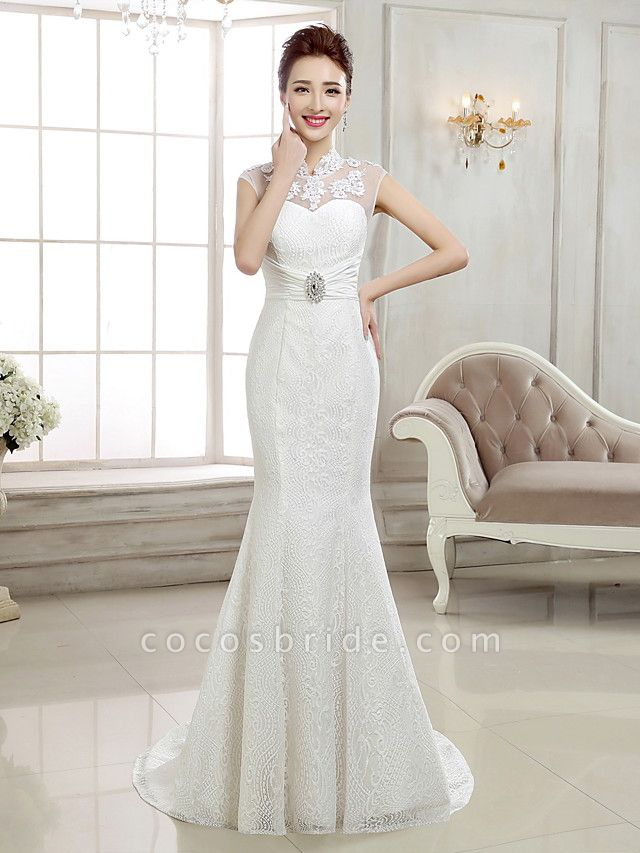 Mermaid \ Trumpet Wedding Dresses High Neck Sweep \ Brush Train Lace Cap Sleeve Sexy Illusion Detail Backless