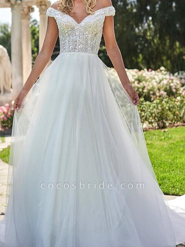 A-Line Off Shoulder Sweep \ Brush Train Lace Tulle Cap Sleeve Country Plus Size Wedding Dresses
