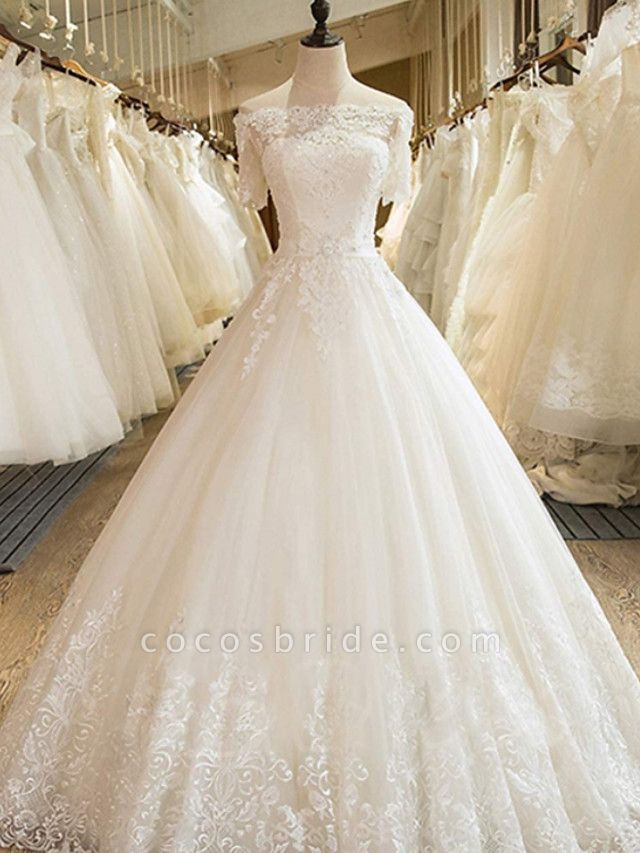 Ball Gown Off Shoulder Court Train Lace Tulle Long Sleeve Formal Wedding Dresses