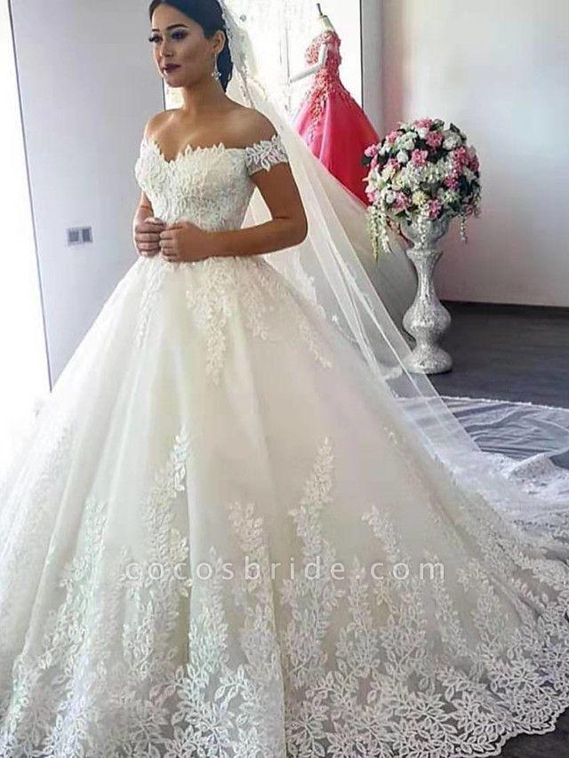 Ball Gown Wedding Dresses Off Shoulder Court Train Lace Short Sleeve Formal Sparkle & Shine