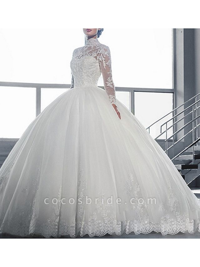 Ball Gown Wedding Dresses High Neck Court Train Tulle Long Sleeve Glamorous Vintage See-Through Backless Illusion Sleeve