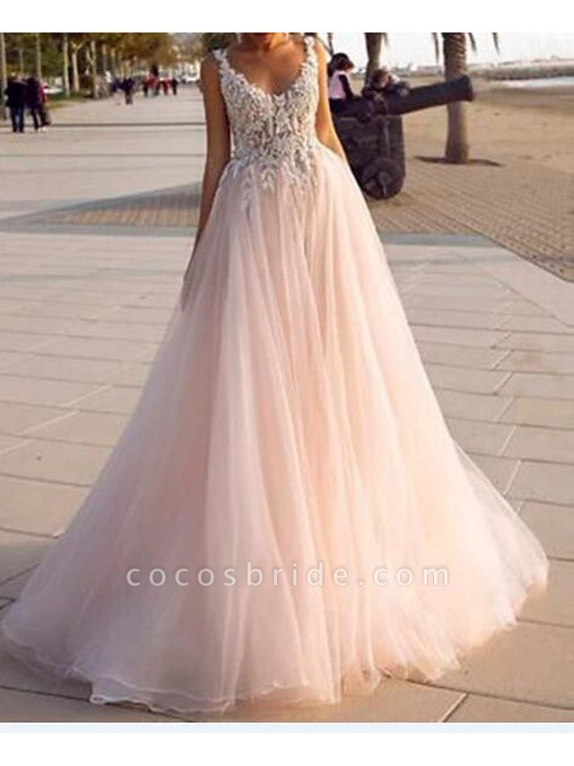 A-Line V Neck Court Train Lace Tulle Sleeveless Country Beach Sexy Wedding Dress in Color Wedding Dresses