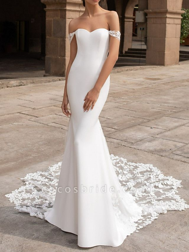 Mermaid \ Trumpet Wedding Dresses Off Shoulder Court Train Satin Short Sleeve Romantic Sexy Backless