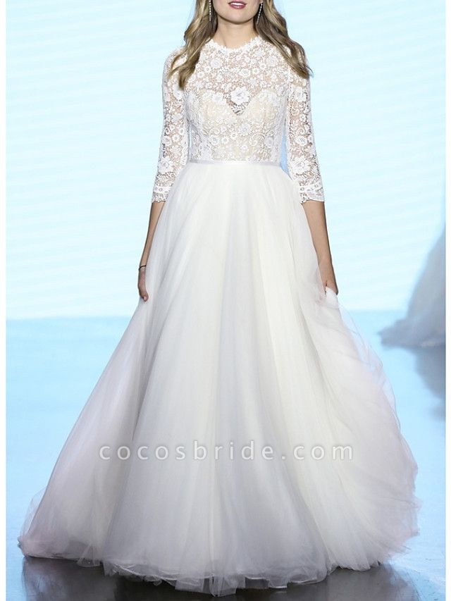 A-Line Wedding Dresses Jewel Neck Sweep \ Brush Train Lace Tulle 3\4 Length Sleeve Plus Size Illusion Sleeve