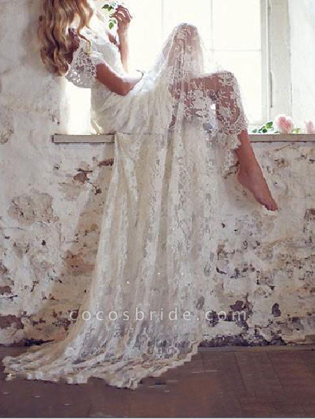 Mermaid \ Trumpet Wedding Dresses V Neck Court Train Lace Taffeta Stretch Satin Short Sleeve Country Plus Size