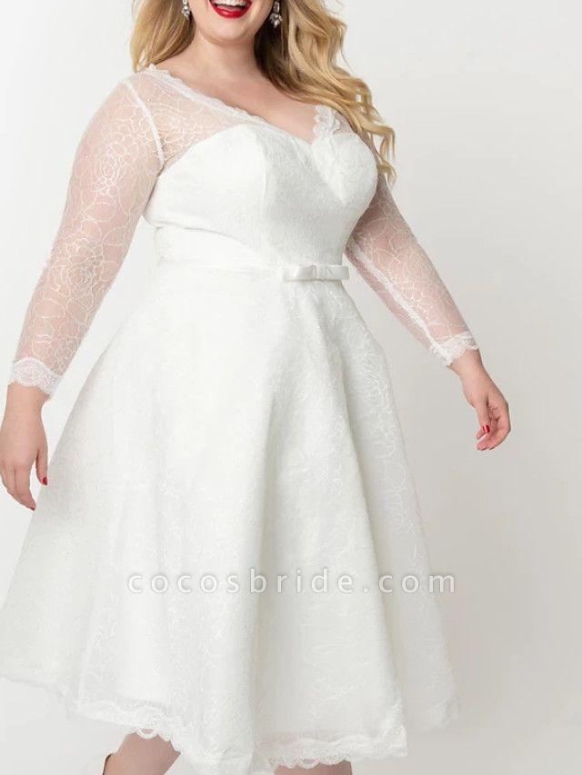 A-Line Wedding Dresses V Neck Knee Length Lace Satin Tulle Long Sleeve Vintage Little White Dress 1950s Illusion Sleeve