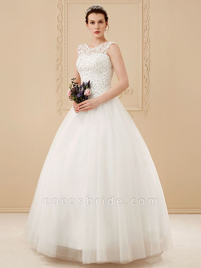 Ball Gown Wedding Dresses Scoop Neck Floor Length Beaded Lace Regular Straps Romantic Illusion Detail