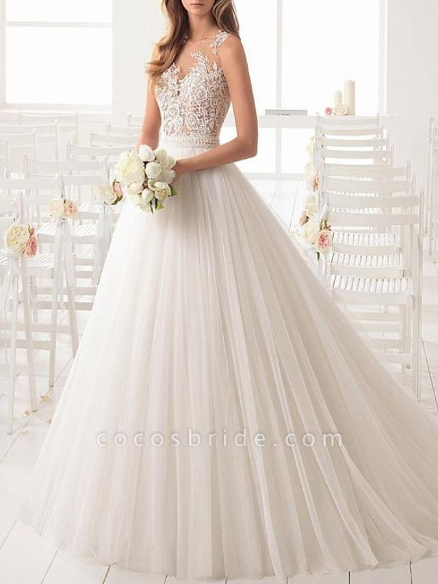 A-Line Wedding Dresses Jewel Neck Sweep \ Brush Train Lace Tulle Sleeveless Country Sexy See-Through
