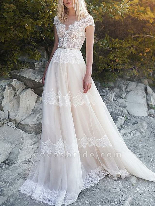 A-Line Wedding Dresses V Neck Sweep \ Brush Train Tulle Cap Sleeve Illusion Detail Backless