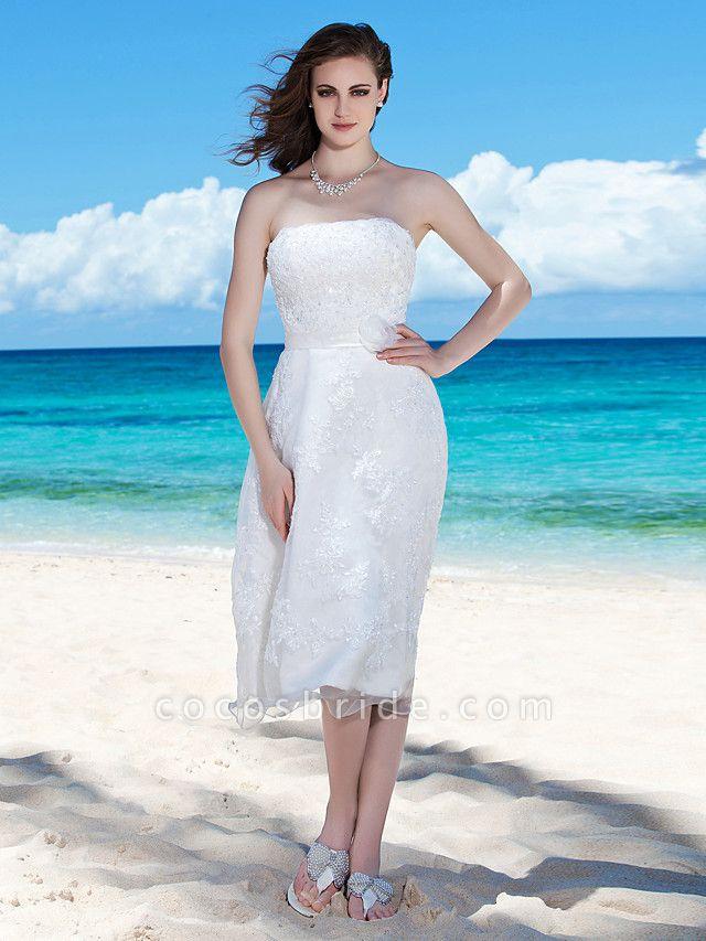Sheath \ Column Wedding Dresses Strapless Tea Length Organza Sleeveless Little White Dress