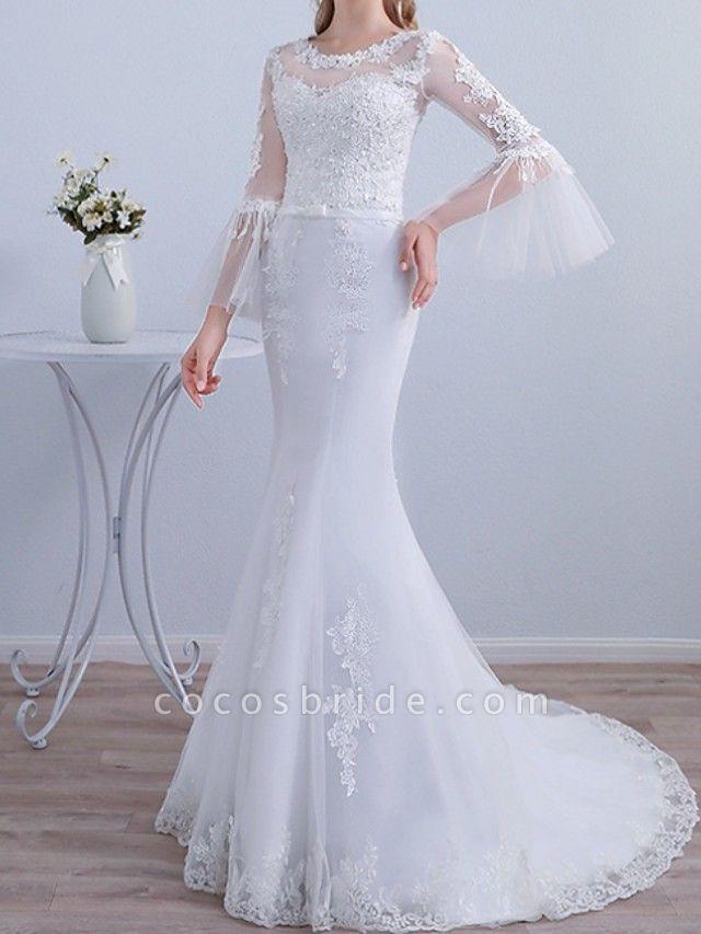 Mermaid \ Trumpet Wedding Dresses Jewel Neck Sweep \ Brush Train Lace Long Sleeve Beach Illusion Sleeve