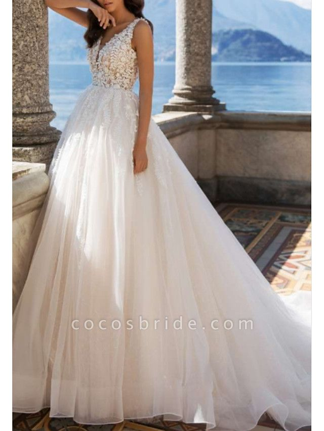 A-Line Wedding Dresses V Neck Sweep \ Brush Train Tulle Charmeuse Regular Straps Illusion Sleeve
