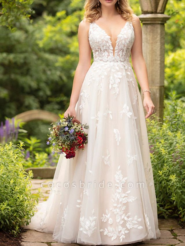 A-Line Wedding Dresses V Neck Sweep \ Brush Train Tulle Sleeveless Sexy Backless