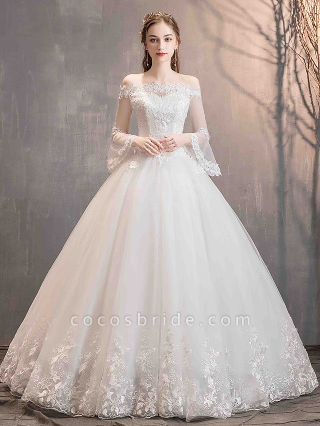 Ball Gown Wedding Dresses Off Shoulder Floor Length Lace Tulle Long Sleeve Romantic Illusion Sleeve