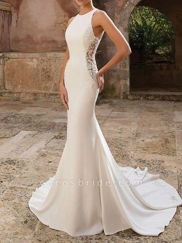 Mermaid \ Trumpet Wedding Dresses Jewel Neck Floor Length Polyester Sleeveless Country Illusion Detail