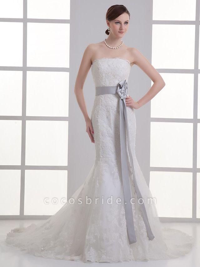 Mermaid \ Trumpet Strapless Chapel Train Lace Satin Strapless Wedding Dresses