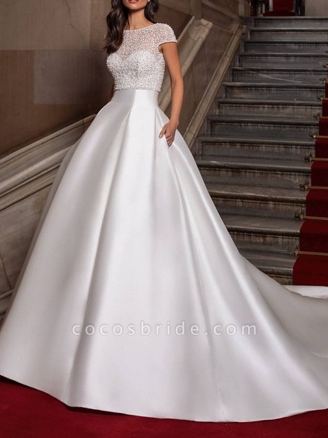 Ball Gown Sweetheart Neckline Sweep \ Brush Train Lace Satin Cap Sleeve Formal Wedding Dresses