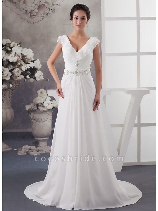 A-Line V Neck Court Train Chiffon Satin Spaghetti Strap Wedding Dresses