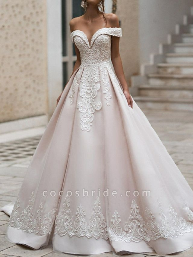 A-Line Off Shoulder Court Train Polyester Short Sleeve Romantic Illusion Detail Wedding Dresses