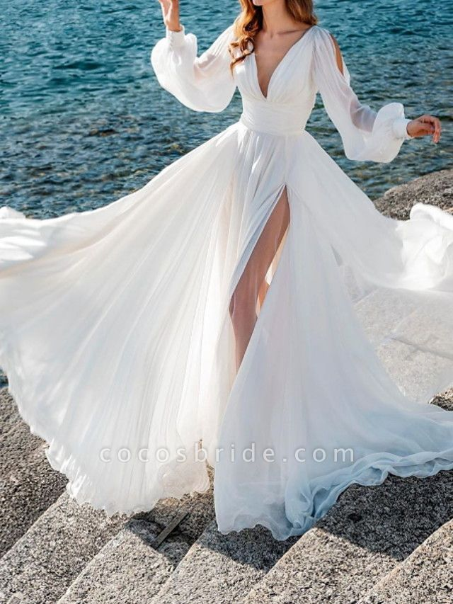 A-Line Wedding Dresses V Neck Sweep \ Brush Train Chiffon Over Satin Long Sleeve Simple Beach Sexy See-Through