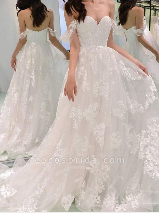A-Line Wedding Dresses Off Shoulder Sweep \ Brush Train Chiffon Lace Strapless
