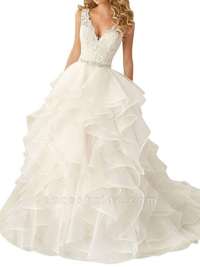 A-Line Wedding Dresses V Neck Sweep \ Brush Train Polyester Regular Straps Glamorous Backless