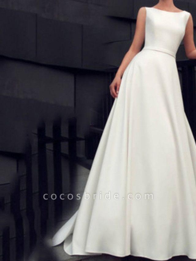 A-Line Wedding Dresses Jewel Neck Floor Length Satin Sleeveless Beach