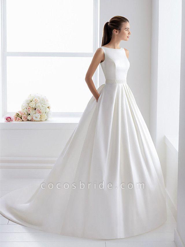 Ball Gown Wedding Dresses Bateau Neck Court Train Lace Polyester Regular Straps Elegant