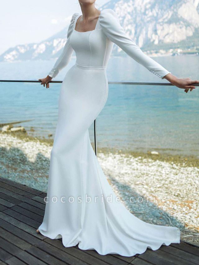 Mermaid \ Trumpet Wedding Dresses Scoop Neck Sweep \ Brush Train Chiffon Over Satin Long Sleeve Country Plus Size