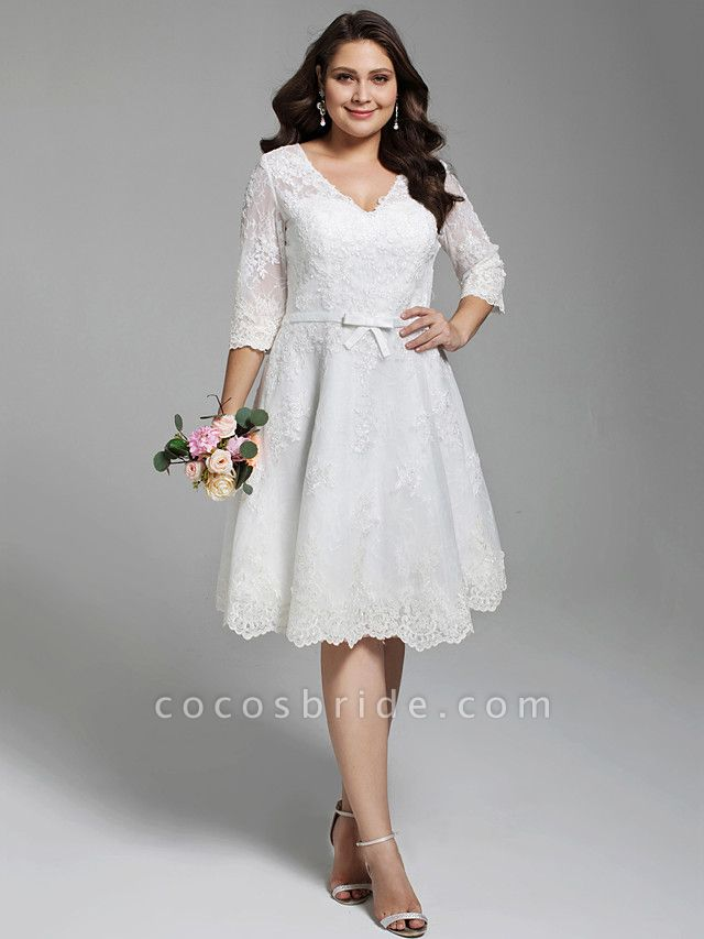 A-Line Wedding Dresses V Neck Knee Length All Over Lace 3\4 Length Sleeve Casual Vintage See-Through Illusion Detail Backless