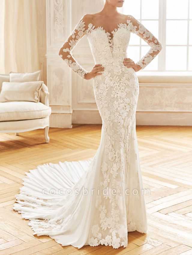 Mermaid \ Trumpet V Neck Sweep \ Brush Train Chiffon Lace Long Sleeve Half Sleeve Vintage Sexy Wedding Dress in Color See-Through Backless Wedding Dresses