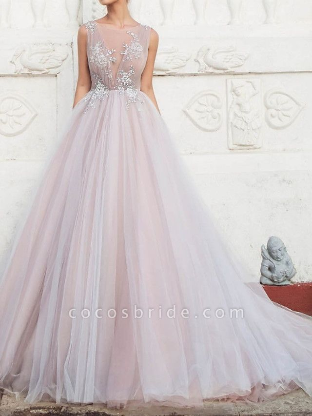 A-Line Wedding Dresses Jewel Neck Sweep \ Brush Train Tulle Polyester Sleeveless Country Plus Size