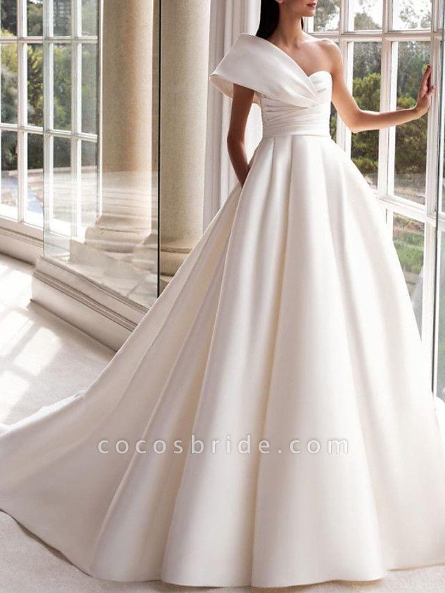 A-Line Wedding Dresses One Shoulder Sweep \ Brush Train Satin Short Sleeve Simple