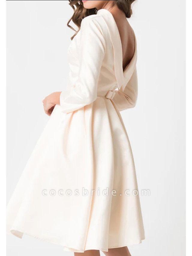 A-Line Wedding Dresses Jewel Neck Knee Length Charmeuse 3\4 Length Sleeve Vintage Little White Dress 1950s Cute
