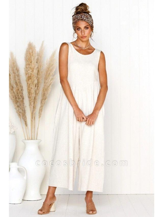 Women's White Black Blue Jumpsuit