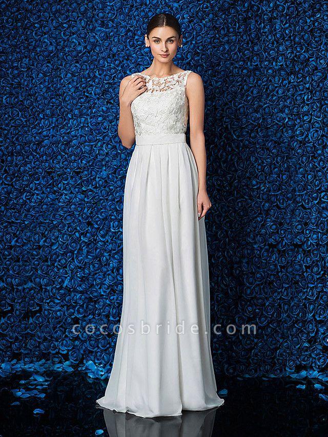 Sheath \ Column Elegant Prom Formal Evening Dress Illusion Neck Sleeveless Floor Length Chiffon Lace