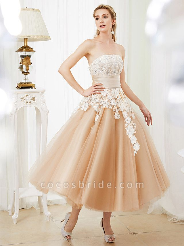 Ball Gown Wedding Dresses Strapless Tea Length Lace Satin Tulle Strapless Romantic Casual Illusion Detail