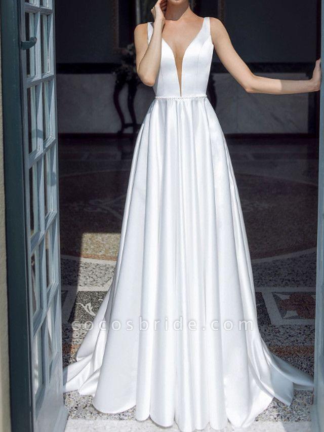 A-Line Wedding Dresses Plunging Neck Sweep \ Brush Train Taffeta Chiffon Over Satin Sleeveless Country Plus Size