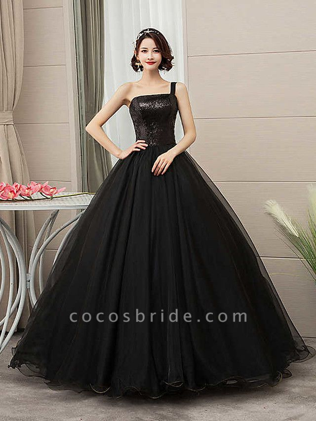 Ball Gown Wedding Dresses One Shoulder Floor Length Tulle Sequined Spaghetti Strap Black