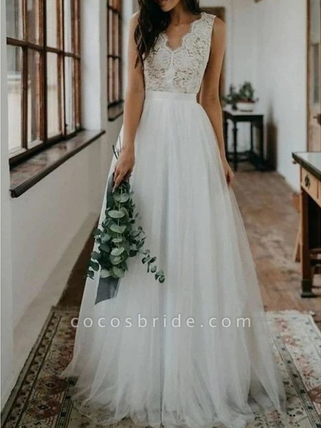 A-Line Wedding Dresses V Neck Sweep \ Brush Train Lace Tulle Sleeveless Beach Boho Sexy