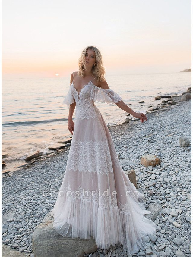 A-Line Wedding Dresses V Neck Sweep \ Brush Train Lace Tulle Short Sleeve Illusion Detail Backless