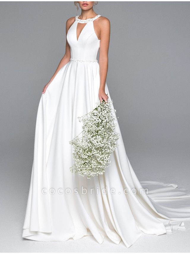 A-Line Wedding Dresses Halter Neck Sweep \ Brush Train Satin Spaghetti Strap