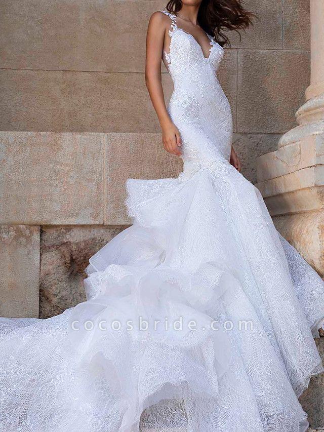 Mermaid \ Trumpet V Neck Court Train Polyester Sleeveless Country Plus Size Wedding Dresses