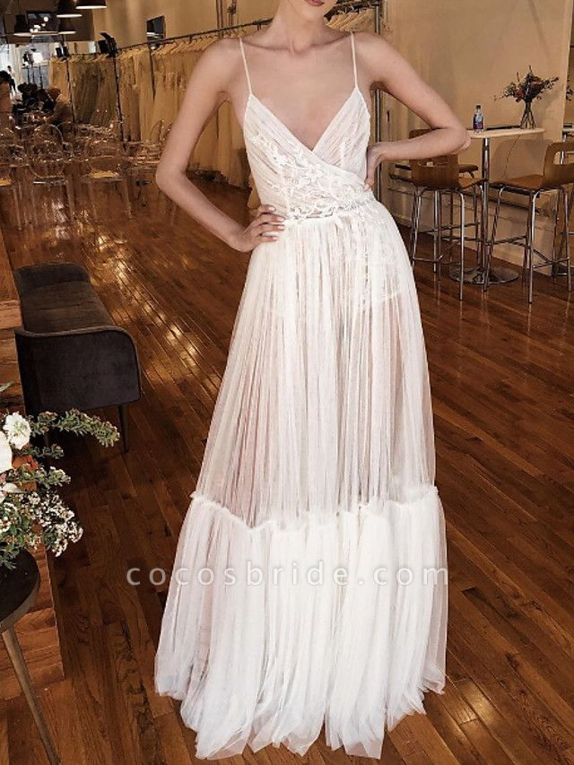 A-Line Wedding Dresses V Neck Spaghetti Strap Floor Length Lace Tulle Sleeveless Beach Sexy See-Through