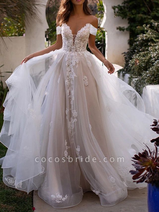 A-Line Wedding Dresses Off Shoulder Sweep \ Brush Train Lace Tulle Sleeveless Country Plus Size