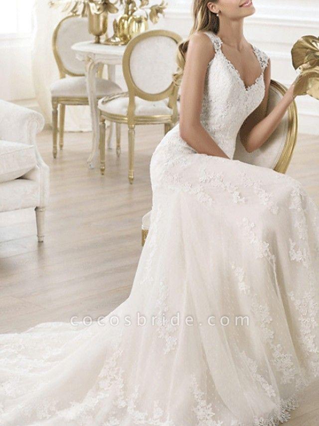 Mermaid \ Trumpet Wedding Dresses V Neck Sweep \ Brush Train Lace Sleeveless Beach