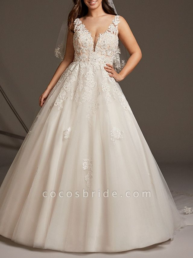 A-Line V Neck Sweep \ Brush Train Lace Tulle Regular Straps See-Through Illusion Detail Backless Wedding Dresses