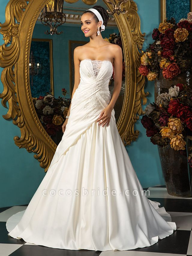 A-Line Wedding Dresses Strapless Court Train Satin Sleeveless
